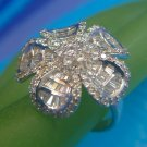 sz 7.5 AWESOME BLING RING #1 : Sterling Silver & Lots and Lots of Bling !!