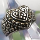 sz 7.5 vintage Ring Marcasite Set in a Sterling 925 Silver Heart