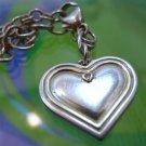 """Charm Bracelet 8"""" My Daughter My Friend Heart Sterling Silver w/ Diamond"""
