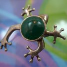 Vintage Sterling Silver & Jade Frog Brooch Pin : By JBNI Bijoux D'amour