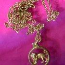 Vintage Leo Lion Zodiac Charm or Pendant  & Chain : By Krementz W. Germany