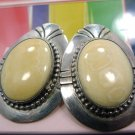 Post Earrings : Sterling Silver Southwestern Ivory-Colored 40mm Stone