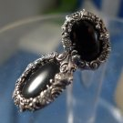 Post Earrings : Vintage Silver Framed Onyx  Post Signed