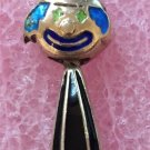 Vintage Clown : Colorful Enamel On Silver Articulated Starry Eyed Clown Pendant