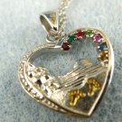 """Heart Pendant : Sterling - Gold """"Footprints""""  w/ Several Gemstones 20"""" Chain"""