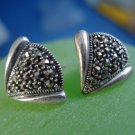 "Post Earrings: Vintage Sterling Silver Marcasite Deco Earrings Signed ""A"""