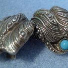Clip Earrings: Awesome Vintage Art Decp 835 Silver and Turquoise