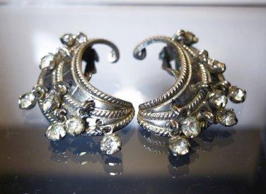 Clip Earrings Vintage w/ Dangling Rhinestones by Karu Arke Pat. Applied For