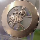 Vintage Brooch : A & Z Sterling 925 Silver Square Dancers Dancing Circle Brooch