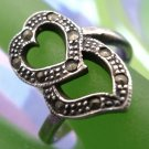 sz 8.5 RING : VINTAGE sterling silver MARCASITE HEART over MARCASITE HEART
