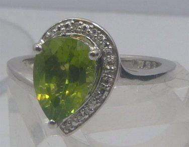 sz 7 Ring : Kay Jewelers JWBR Peridot & Sterling Set : Ring Earrings Pendant Set