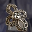 sz 6 Vintage Eternity Cross Ring  : Sterling Silver and Marcasite signed A