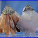Vintage Art Deco Pierced Post Earrings : Sterling Silver and Art Deco Fan Shell