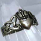 sz 7 Celtic Vintage Claddagh Commitment Ring Sterling Silver I GIVE YOU MY HEART