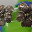 Screw Back Earrings : Vintage Hibiscus Flower Marked Sterling Sterling