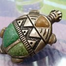 Vintage Carolyn Pollack Turtle Pendant Brooch Turquoise Inlay 925 Sterling