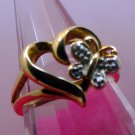 sz 7.25 Butterfly on a Heart Ring Gold Vermeil over Sterling Silver signed DL Ch