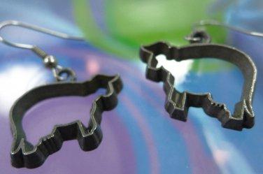 Hook Earrings : 1996 Ann Clark Vermont Cookie Cutter - Pewter & Silver