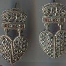 Post Earrings : Vintage Crowned Hearts Marcasite & Garnets In Sterling signed SU