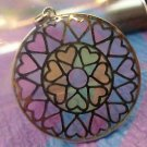 Colorful Hearts Pendant 32mm Stained Glass Circle Signed RP 925 Sterling China