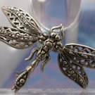 Small Vintage Sterling Articulated Bug Mosquito Or Dragonfly Brooch : Wings Move