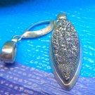Pendant or Pearl Enhancer : Silver Druzy Drusy in Sterling Bezel - Brazil Signed