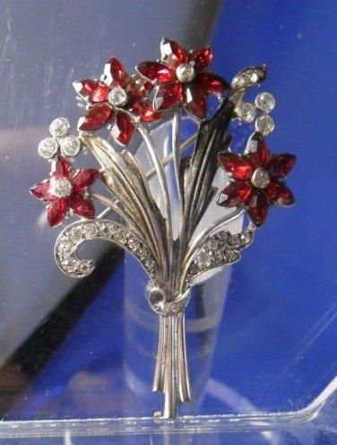 Brooch / Pin : vintage sterling Magnificent Floral Rubies Rhinestones by Otis
