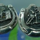 Post Earrings : Western Barrel Racer Horseshoe Signed Justin Silver Mexico