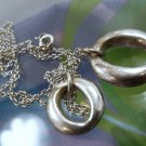 """Designer Inspired 925 Silver Double Circle 17"""" Lariat Necklace"""