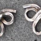 Sterling 925 Silver Double Eternity Ribbon Bow Pierced Post Earrings