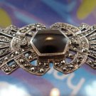 Vintage Onyx and Sparkling Marcasite in Sterling Silver Brooch Signed Circled B