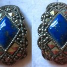 """Sterling 925 Silver Lapis and Marcasite Post Stud Earrings - Thailand Signed """"A"""""""