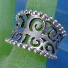 sz 7 Ring: sterling silver Concave and Beaded Edge - Marked NF Sterling