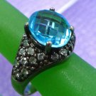 sz 6.5 Sterling Silver Ring signed C^A (Chateau D'argent) Topaz & Rhinestones