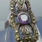 sz 7.5 RING: sterling 925 silver Tall Art Deco Marcasite & Amethyst Ring