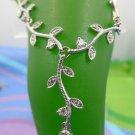"""Necklace: Sterling 925 Silver CZ Vine 16"""" Necklace Plus A Dangling 1.5"""" Vine"""