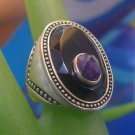 sz 6.5 Sterling Silver Unisex Ring Amethyst on Onyx - Made in China w/ Hallmark