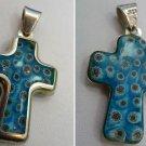Cross Pendant : Sterling 925 Millefiori Blue Italian Murano Glass By Alan K