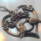 """Heart Ruby 2 Love Birds Holiday 1981 Franklin Mint Pendant 16"""" Chain Signed FM"""