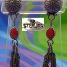 Post Earrings : Sterling Navajo Tribal signed RB Robert Becenti Coral w/ Feather