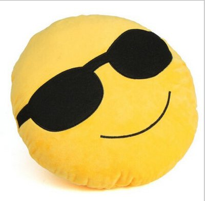 cool smiling face with sunglasses emoji cushion pillow