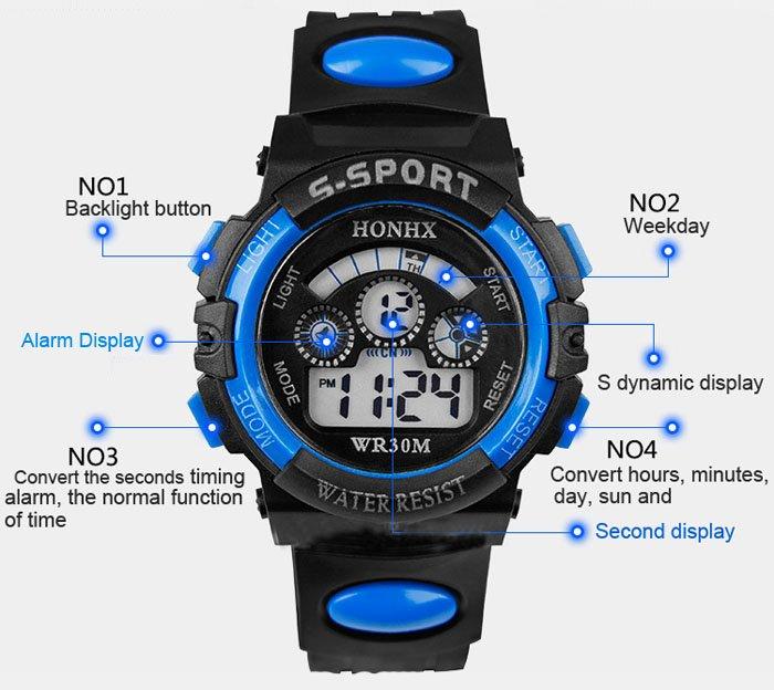 Sports Watches Men Luminous Digital Watch Digital wristwatches Blue