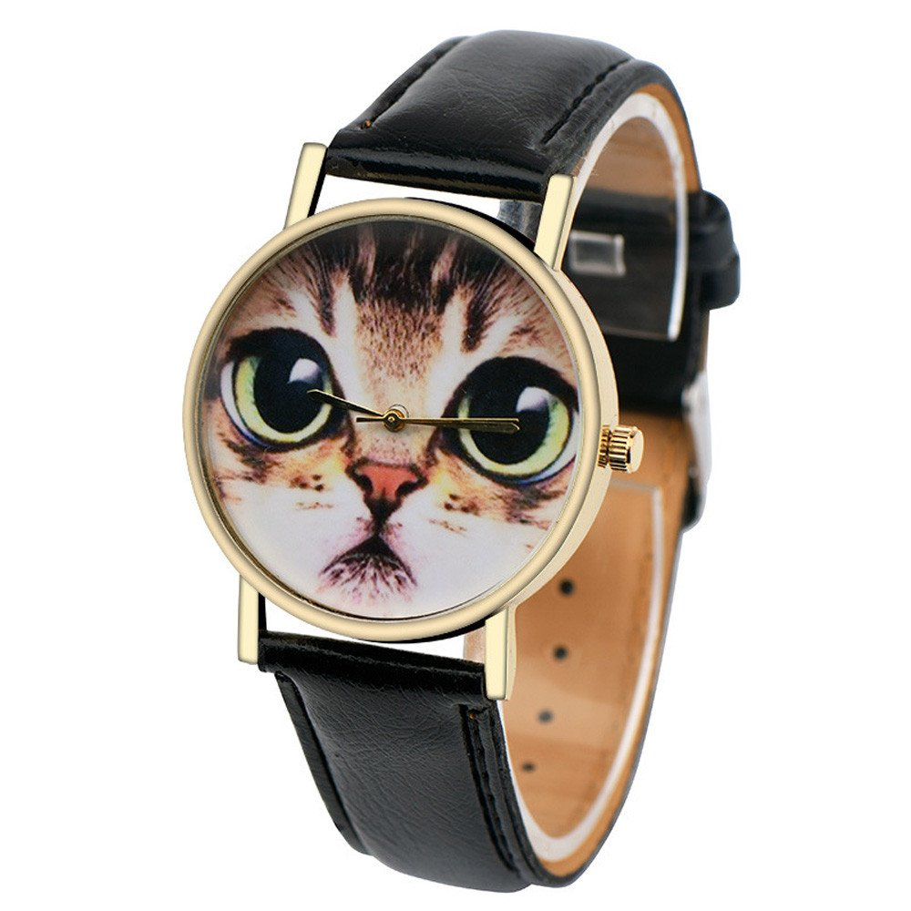 Fashion Womens Watch Cat Pattern Leather Band Analog Quartz Vogue Wrist Watch Casual Wristwatches