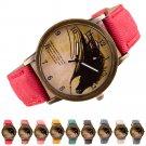 Fashion Womens Watch Retro Clock Wolf WristWatch Cowboy Leather Band Analog Quartz Watch