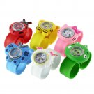 1 pcs Random Boys Girls Children New Fashion Animal Slap Snap On Silicone Wrist Watch Kids Gift