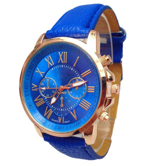 Women Stylish Numerals Faux Leather Analog Quartz Wrist Watches Blue