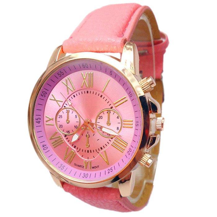 Women Stylish Numerals Faux Leather Analog Quartz Wrist Watches Pink