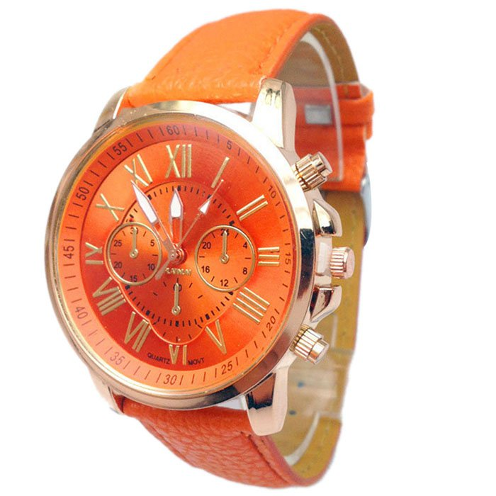 Women Stylish Numerals Faux Leather Analog Quartz Wrist Watches Orange