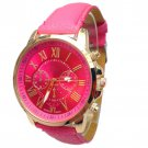 Women Stylish Numerals Faux Leather Analog Quartz Wrist Watches Rose