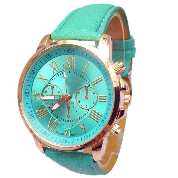 Women Stylish Numerals Faux Leather Analog Quartz Wrist Watches Green